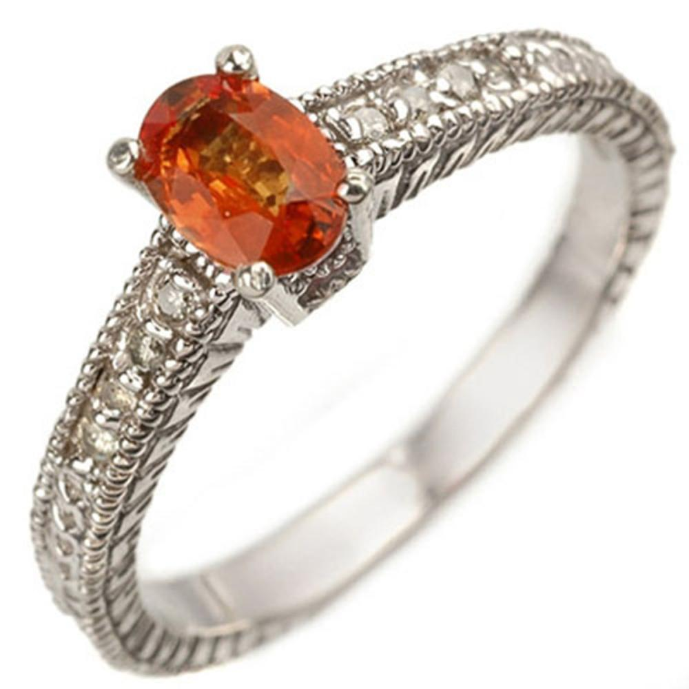 0.81 CTW Genuine Orange Sapphire & Diamond Ring 10K White Gold