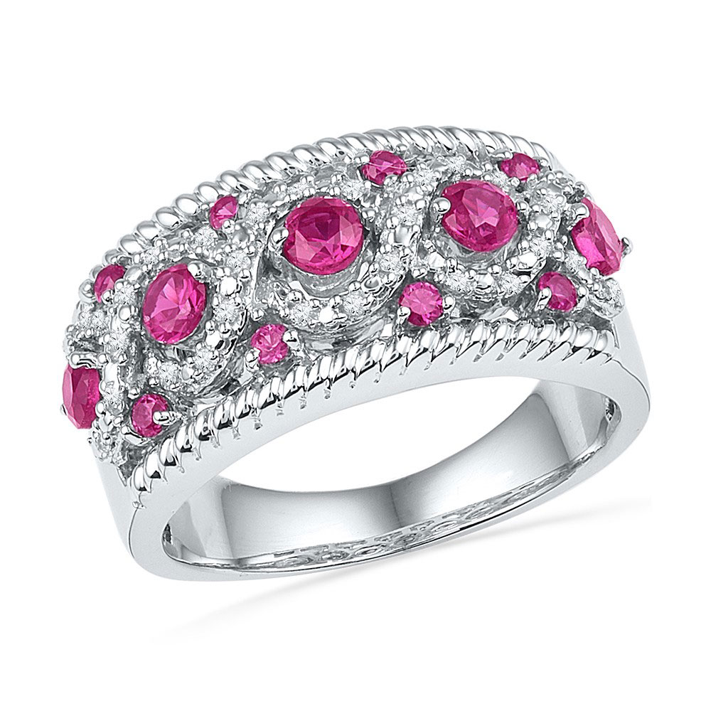 Lot 3022: Lab-Created Pink Sapphire Diamond Roped Band 10kt White Gold