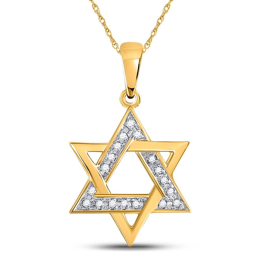 Diamond Star Magen David Jewish Pendant 10kt Yellow Gold