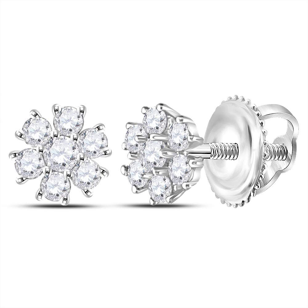 Lot 3025: Diamond Flower Cluster Burst Earrings 10kt White Gold