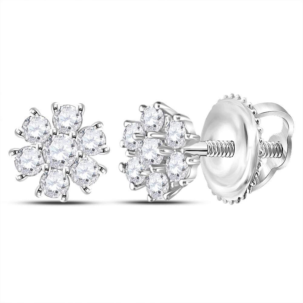 Diamond Flower Cluster Burst Earrings 10kt White Gold