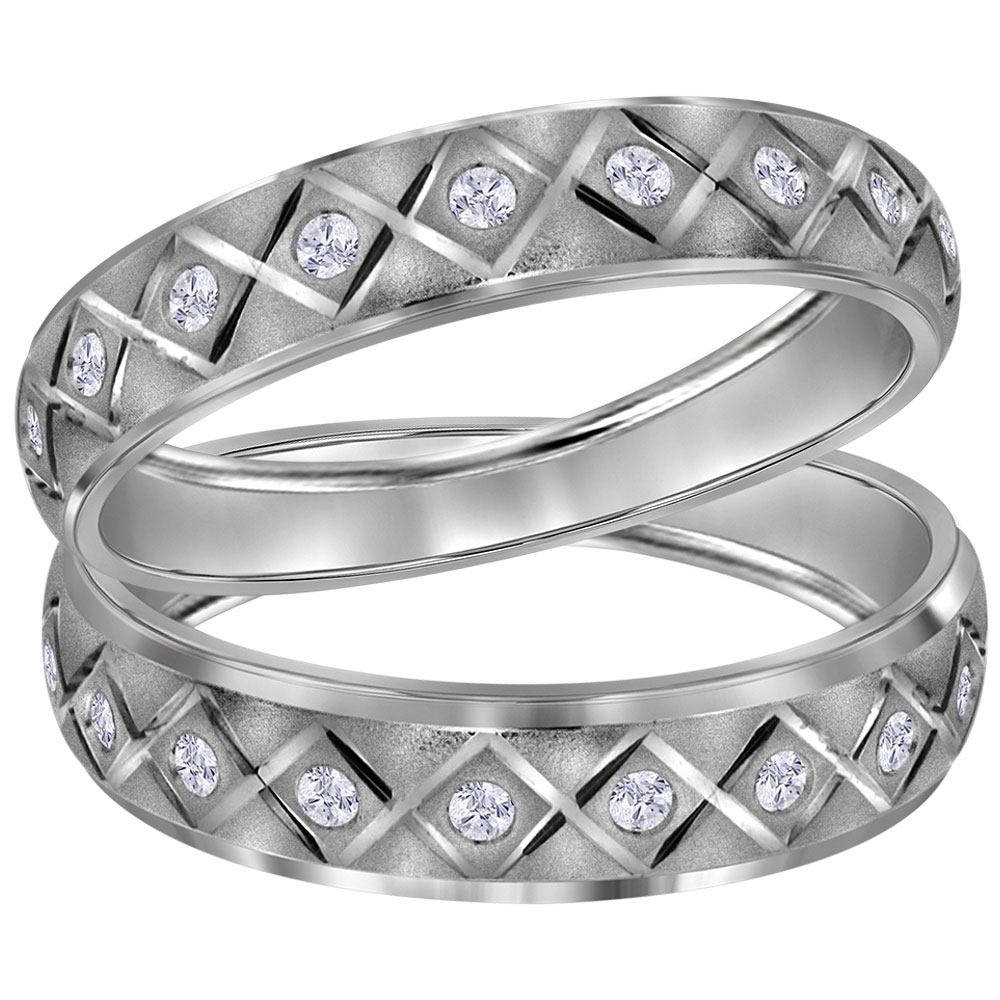 His & Hers Diamond Matching Duo Wedding Band 14kt White Gold