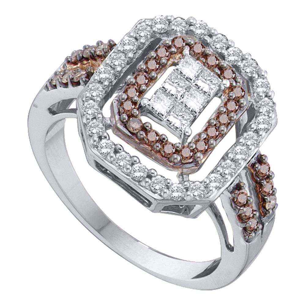 Brown Diamond Rectangle Cluster Ring 14kt White Gold