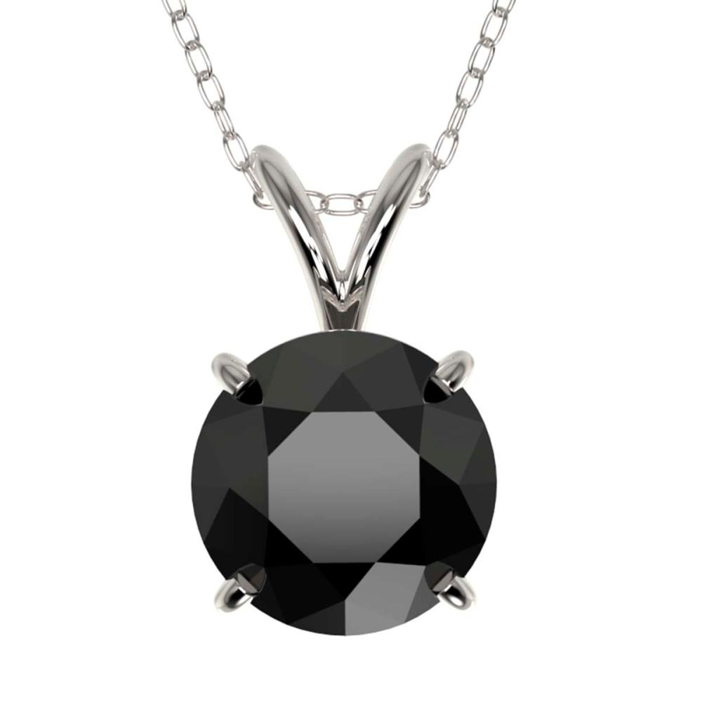 1.25 CTW Genuine Fancy Black Diamond Solitaire Necklace 10K White Gold
