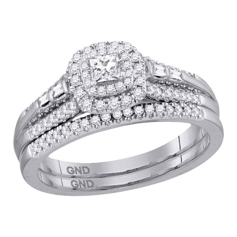 Lot 3031: Princess Diamond Bridal Wedding Engagement Ring 14kt White Gold