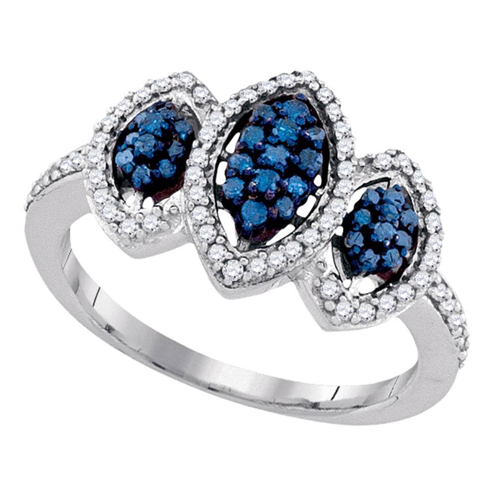 Blue Color Enhanced Diamond Triple Cluster Ring 10kt White Gold