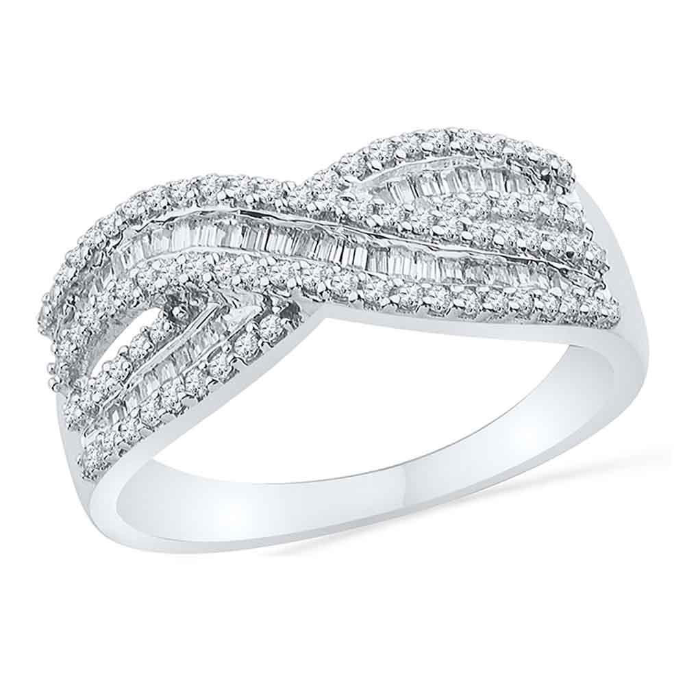 Baguette Diamond Crossover Band 10kt White Gold