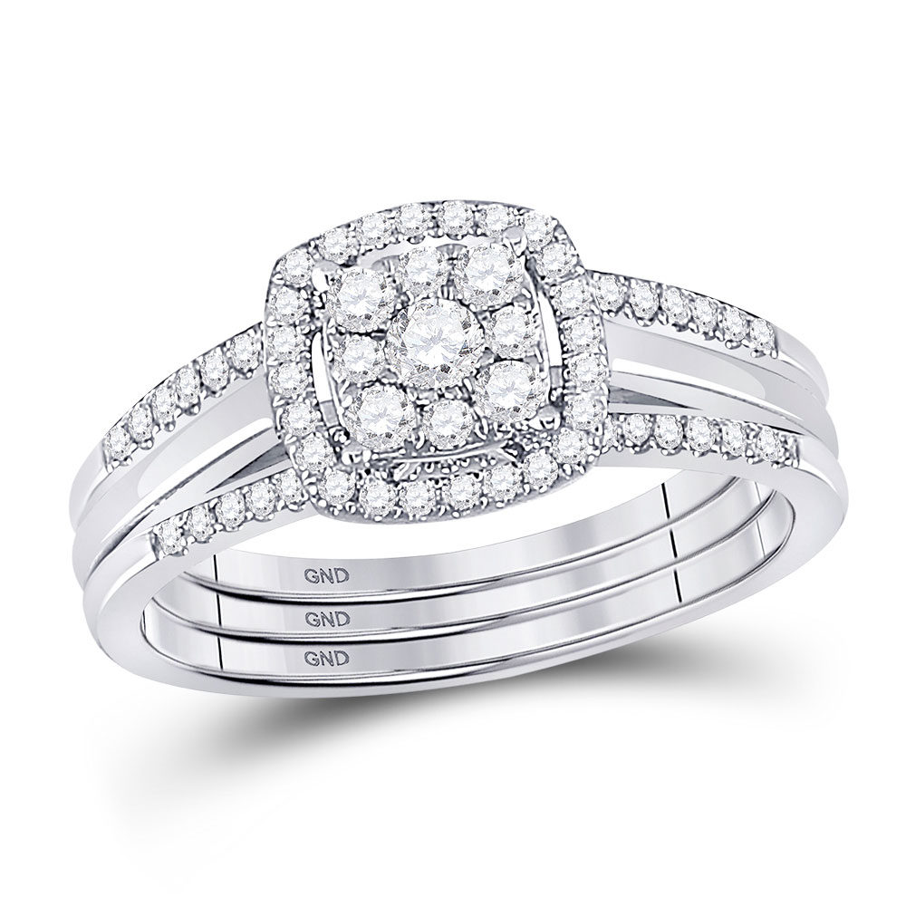 Diamond 3-Piece Bridal Wedding Ring 10kt White Gold