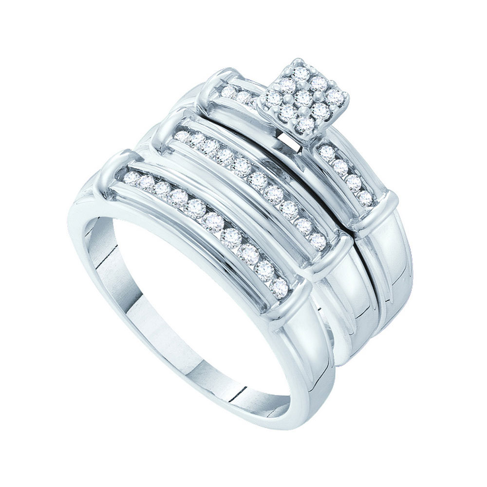His & Hers Diamond Cluster Matching Bridal Wedding Ring 14kt White Gold