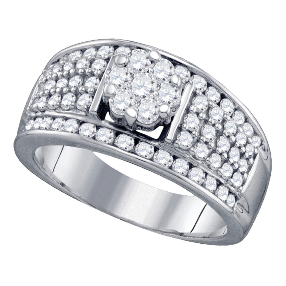 Diamond Flower Cluster Fashion Ring 10kt White Gold