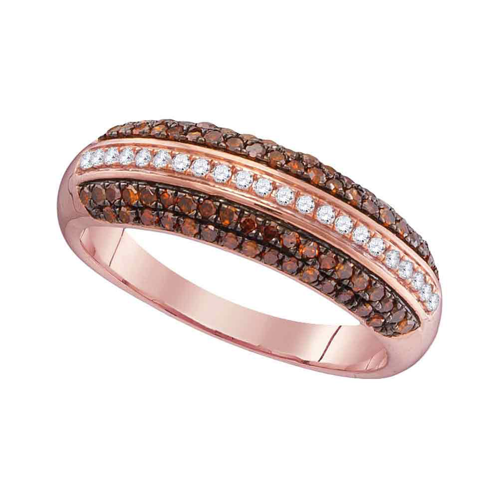 Red Color Enhanced Diamond Striped Band 10kt Rose Gold