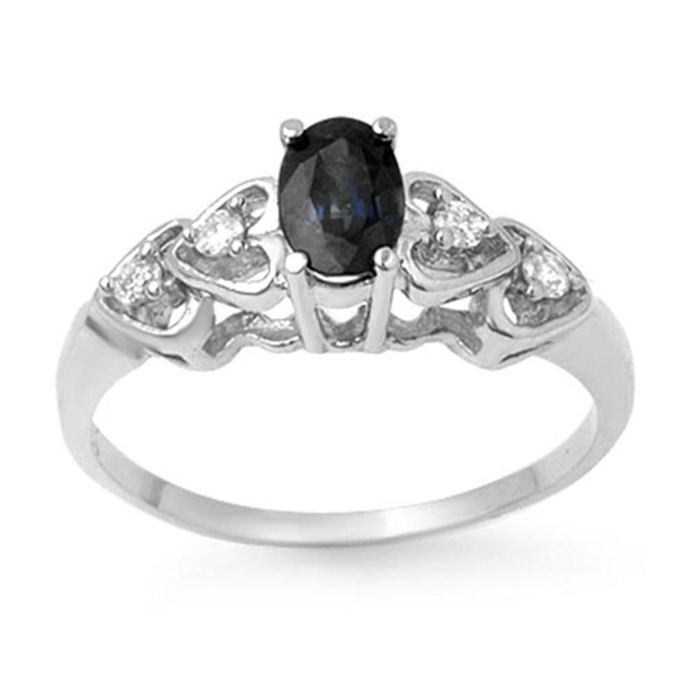 Lot 3039: 0.57 CTW Genuine Blue Sapphire & Diamond Ring 18K White Gold