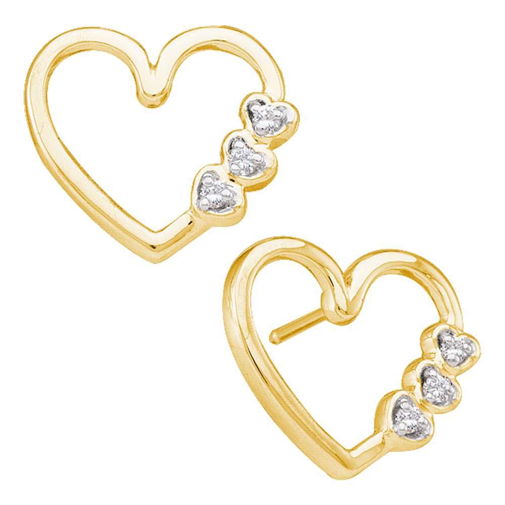 Diamond Simple Heart Screwback Earrings 10kt Yellow Gold