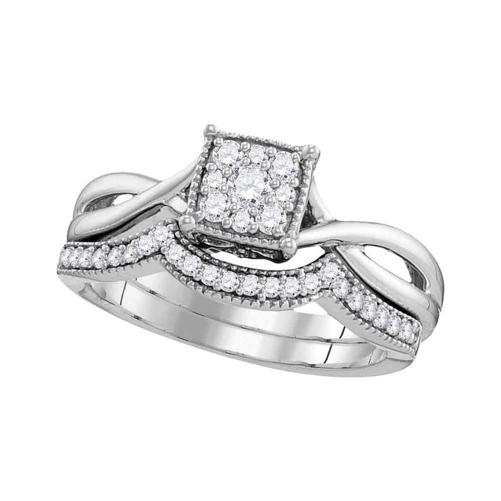 Diamond Flower Cluster Bridal Wedding Engagement Ring 10k White Gold