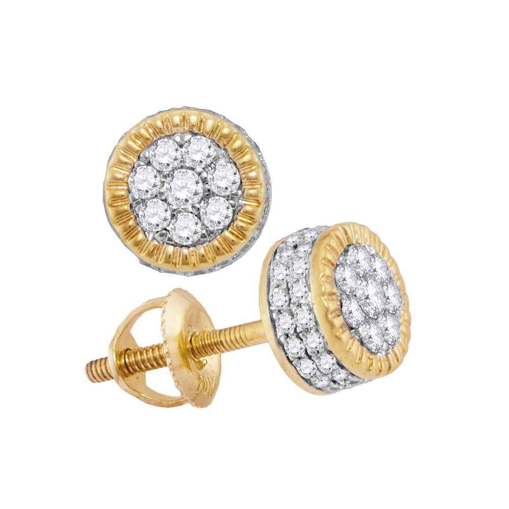 Lot 3049: Mens Diamond Fluted Flower Cluster Stud Earrings 10kt Yellow Gold
