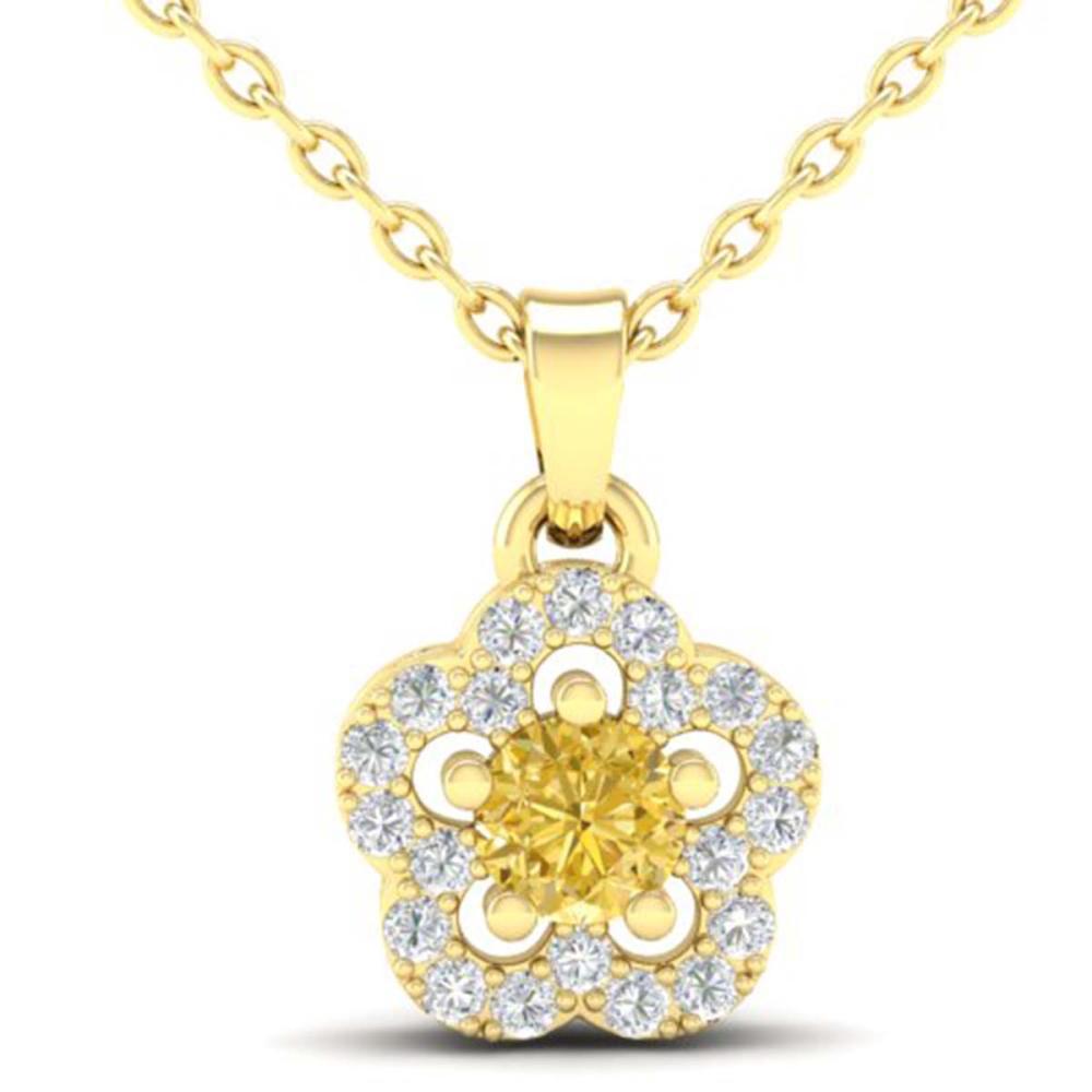 0.33 CTW Genuine Citrine & SI1-SI2 Diamond Necklace Moon 10K Yellow Gold