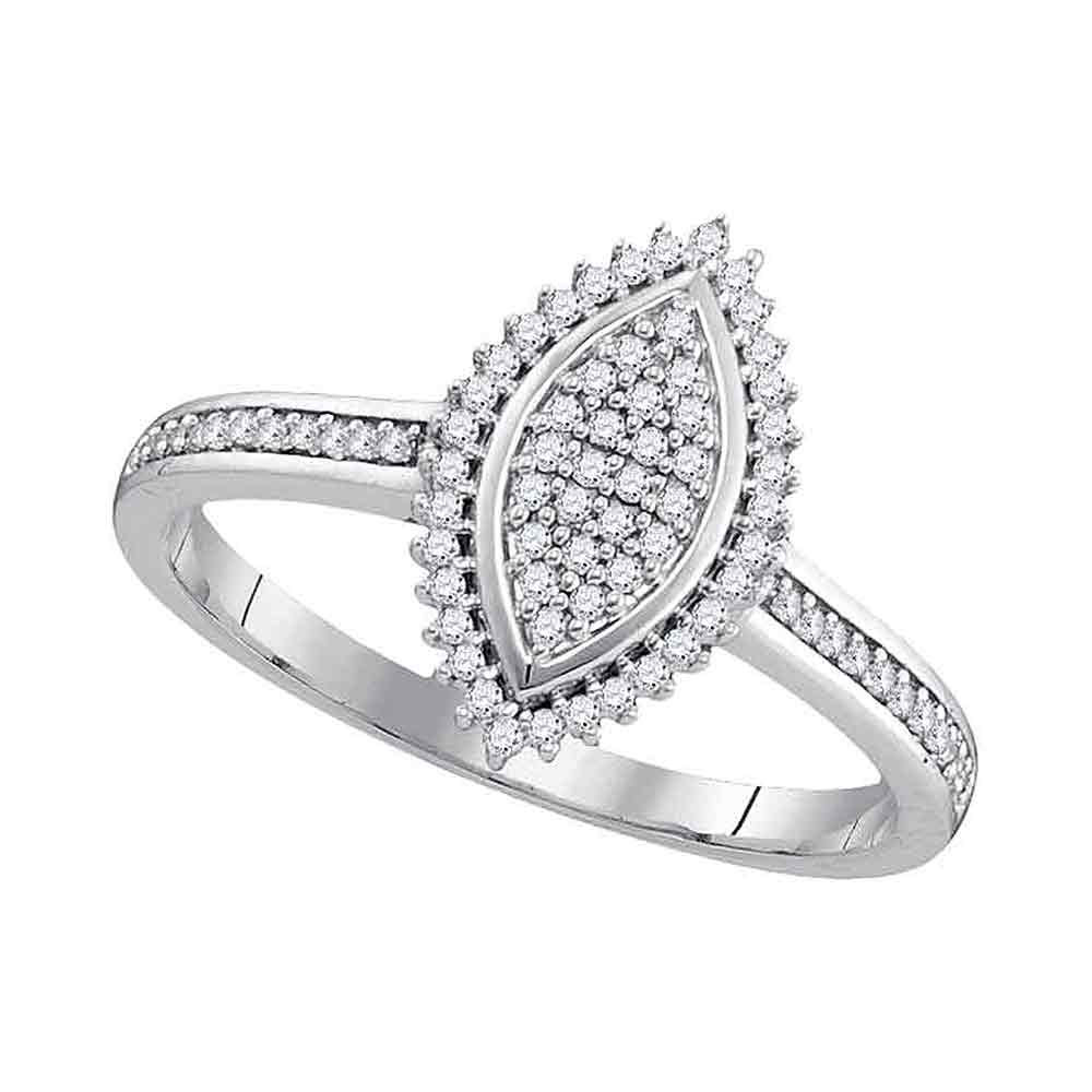 Lot 3052: Diamond Oval Cluster Bridal Wedding Engagement Ring 10kt White Gold