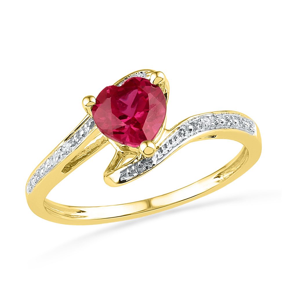 Lot 3055: Heart Lab-Created Ruby Solitaire Diamond-accent Bypass Ring 10kt Yellow Gold