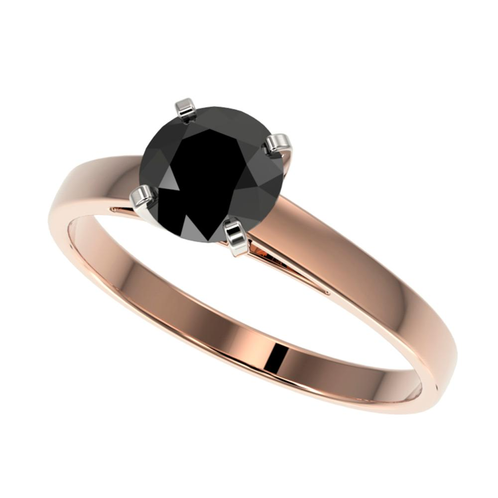 1 CTW Genuine Fancy Black Diamond Solitaire Ring 10K Rose Gold