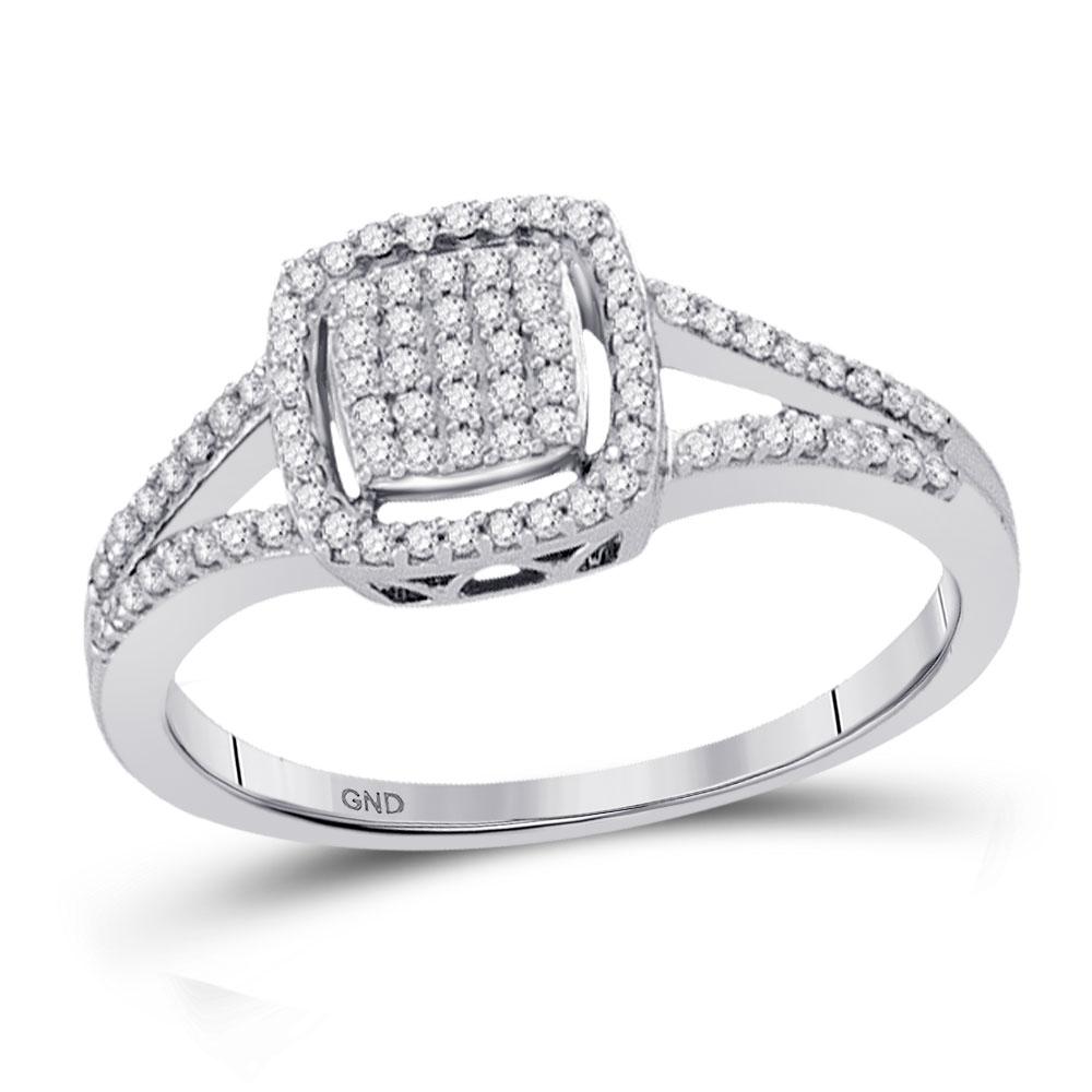 Diamond Square Frame Cluster Split-shank Ring 10kt White Gold