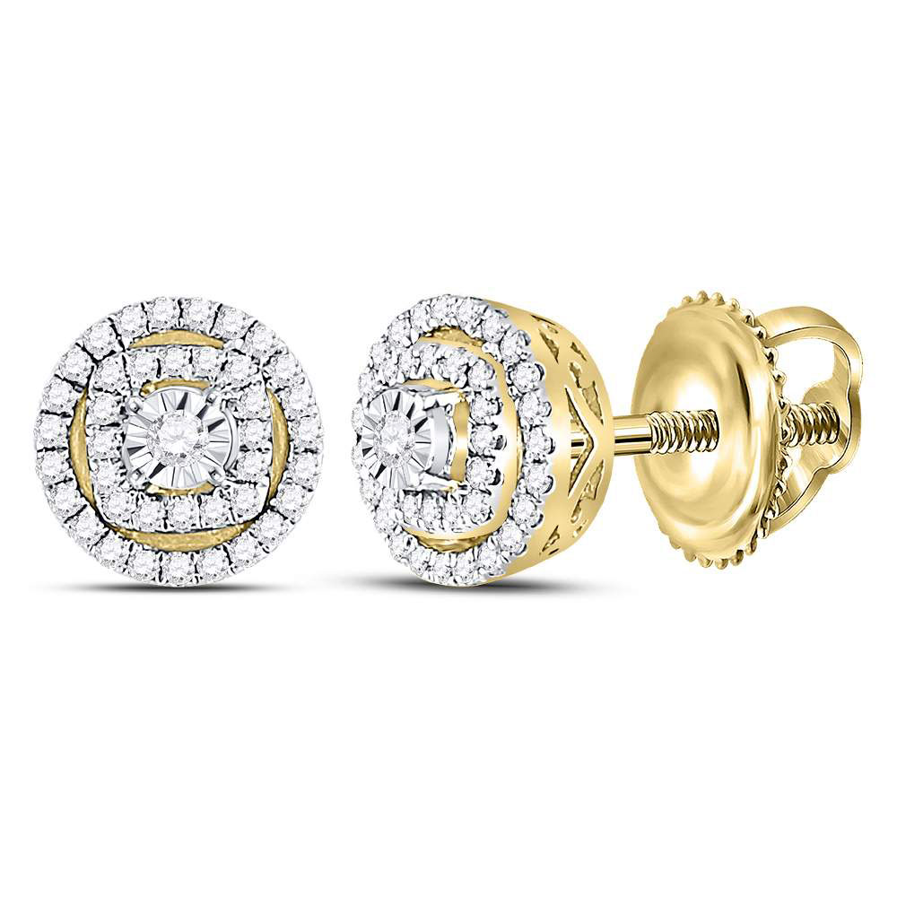 Lot 3064: Diamond Circle Frame Stud Earrings 14kt Yellow Gold