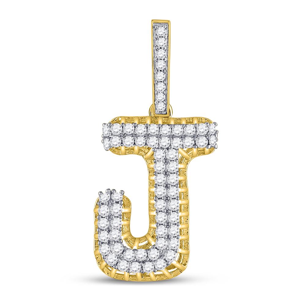Mens Diamond Letter J Charm Pendant 10kt Yellow Gold