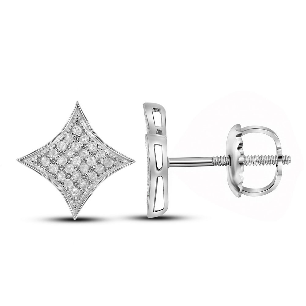 Diamond Square Kite Cluster Earrings Sterling Silver