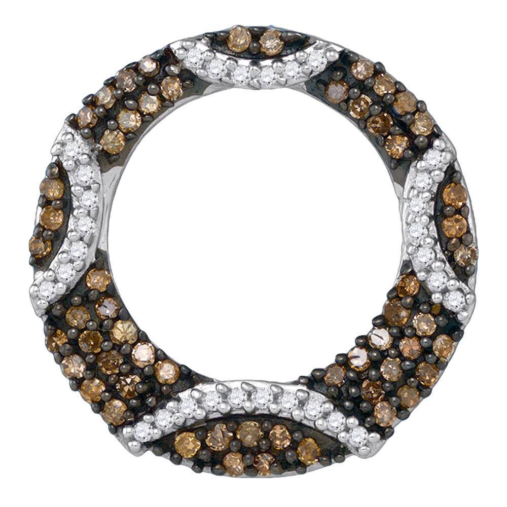 Brown Diamond Stripe Circle Pendant 10kt White Gold