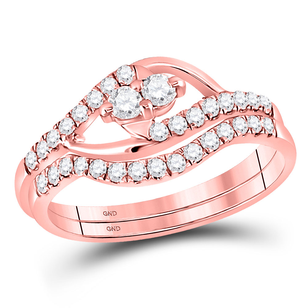 Diamond 2-Stone Bridal Wedding Engagement Ring 10kt Rose Gold