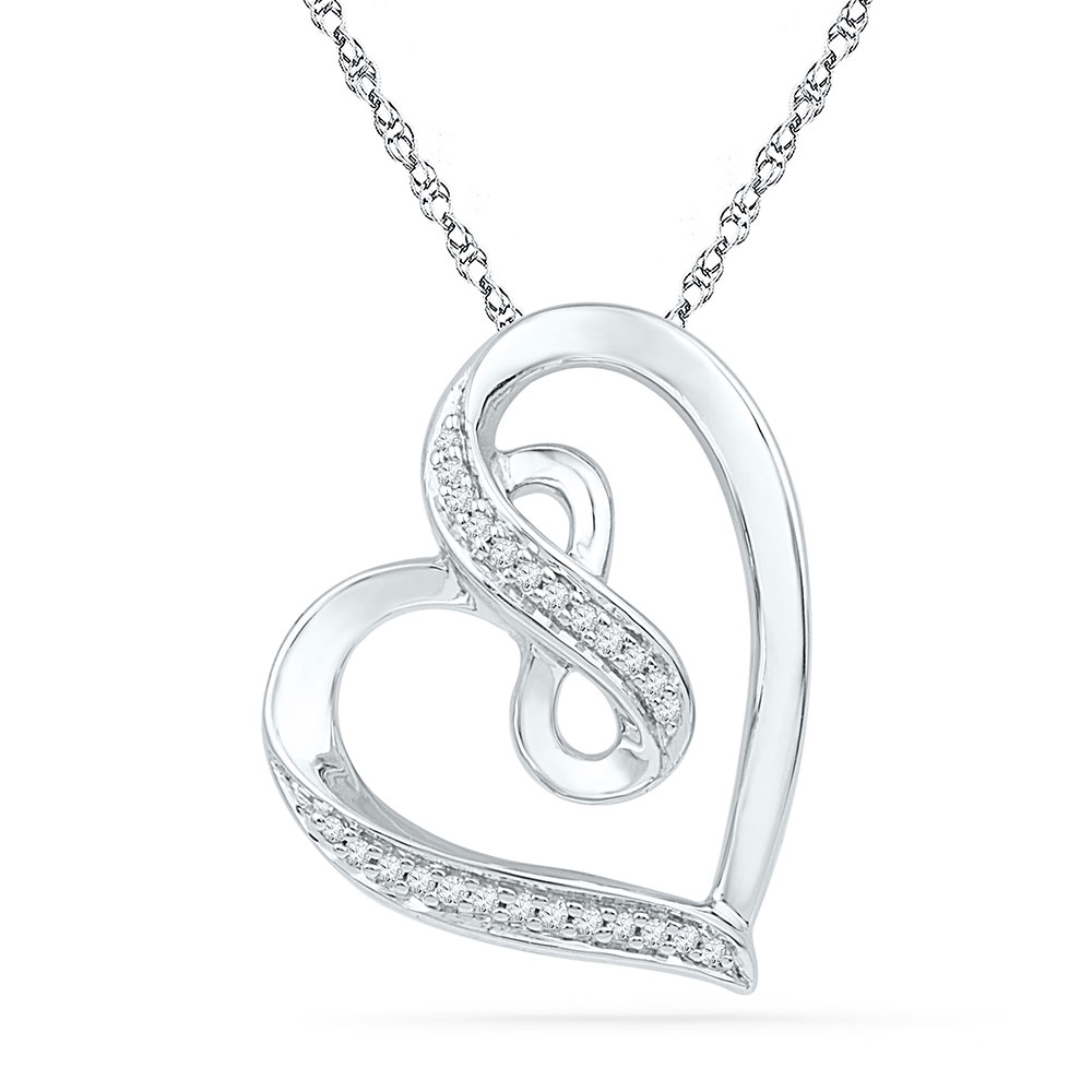 Lot 3074: Diamond Heart Infinity Pendant 10kt White Gold