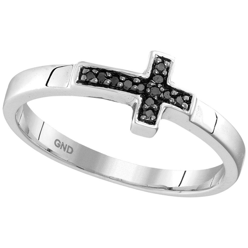 Lot 3076: Black Color Enhanced Diamond Cross Band Sterling Silver