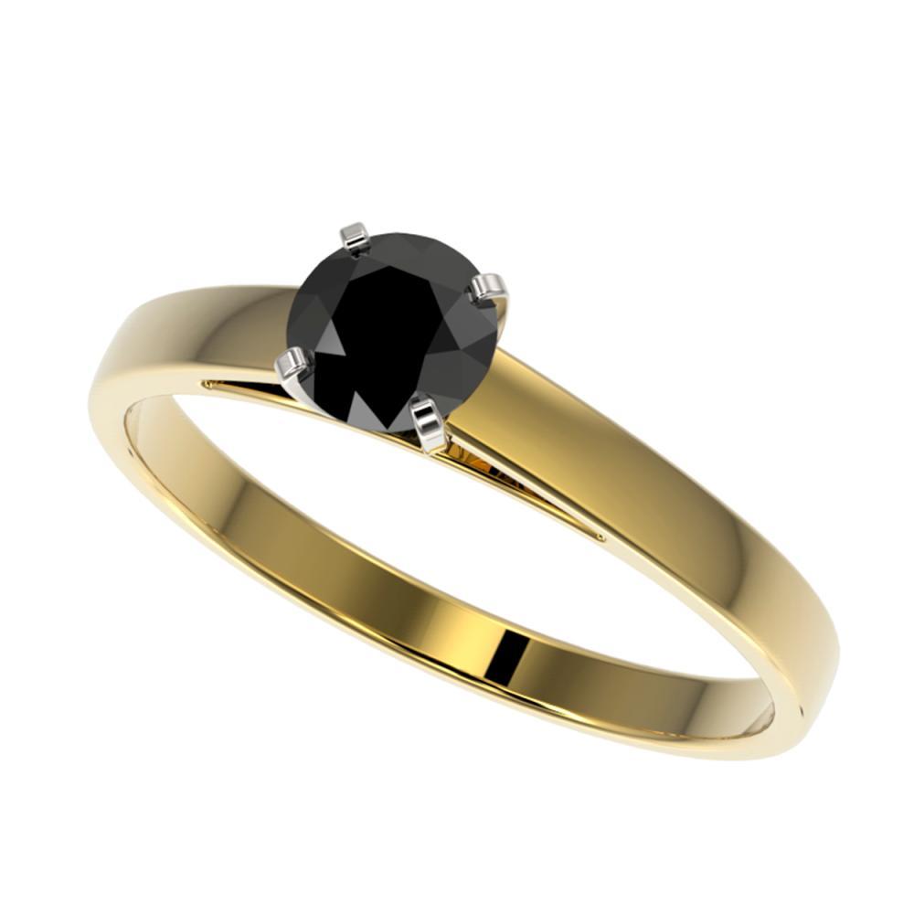 0.50 CTW Genuine Fancy Black Diamond Solitaire Ring 10K Yellow Gold