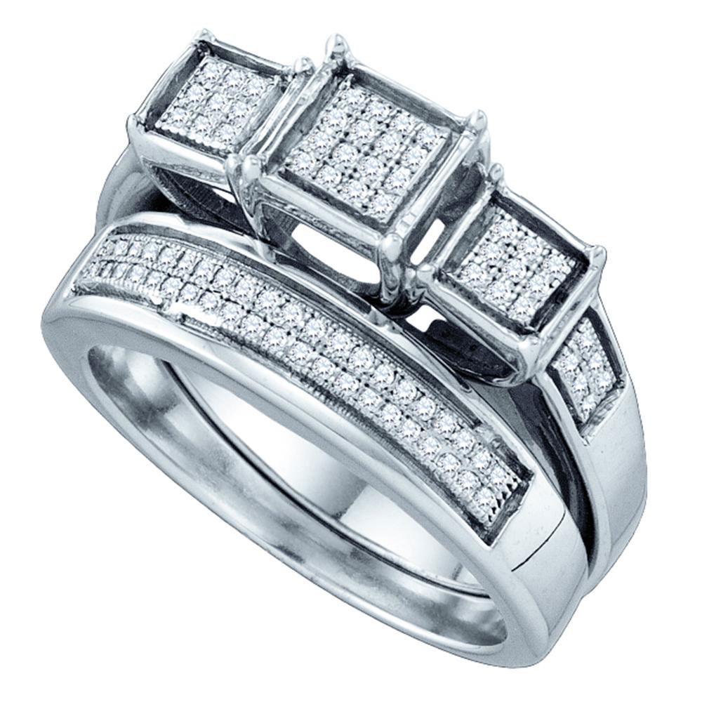 Lot 3078: Diamond Triple Cluster Bridal Wedding Engagement Ring Sterling Silver
