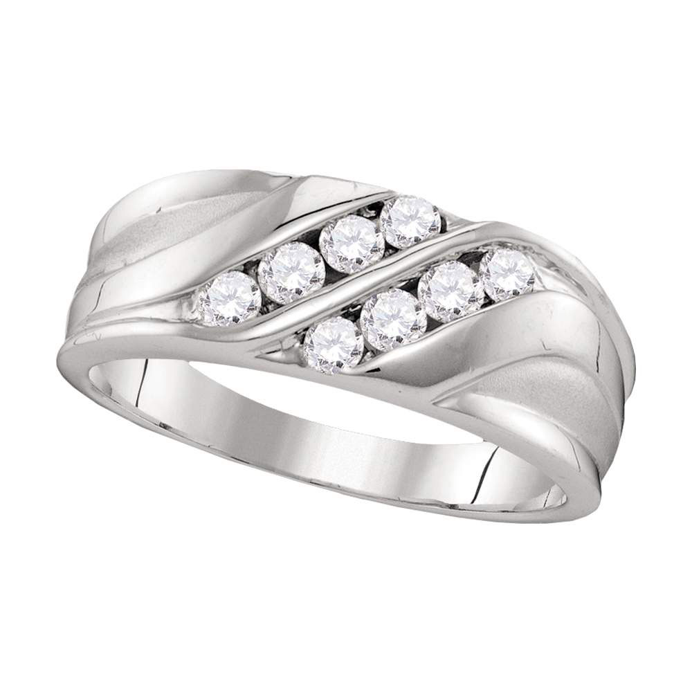 Lot 3080: Mens Diamond Wedding Band 10kt White Gold