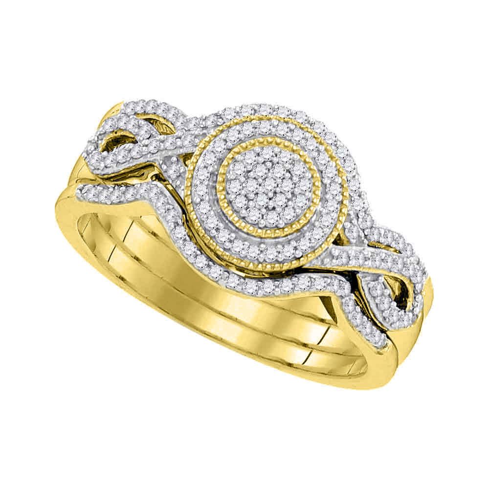 Lot 3082: Diamond Cluster 3-Piece Bridal Wedding Engagement Ring 10kt Yellow Gold