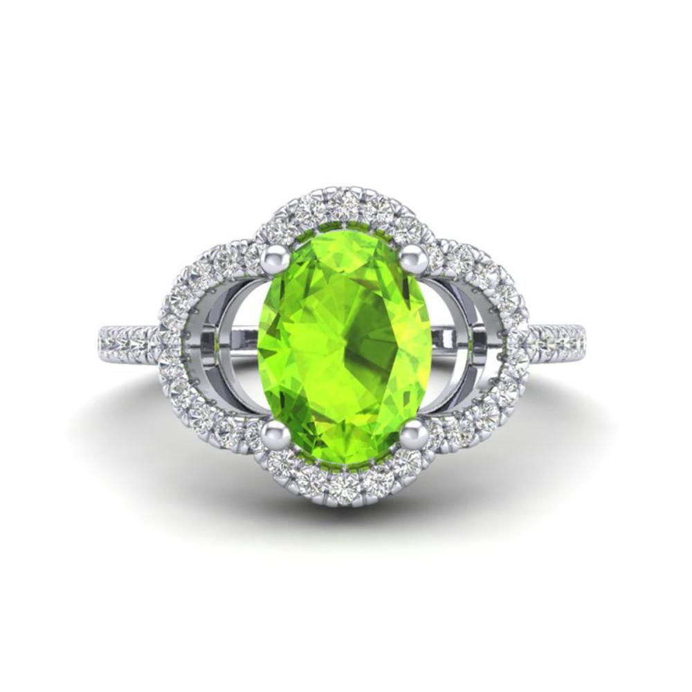 1.75 CTW Genuine Peridot & SI1-SI2 Diamond Ring 10K White Gold