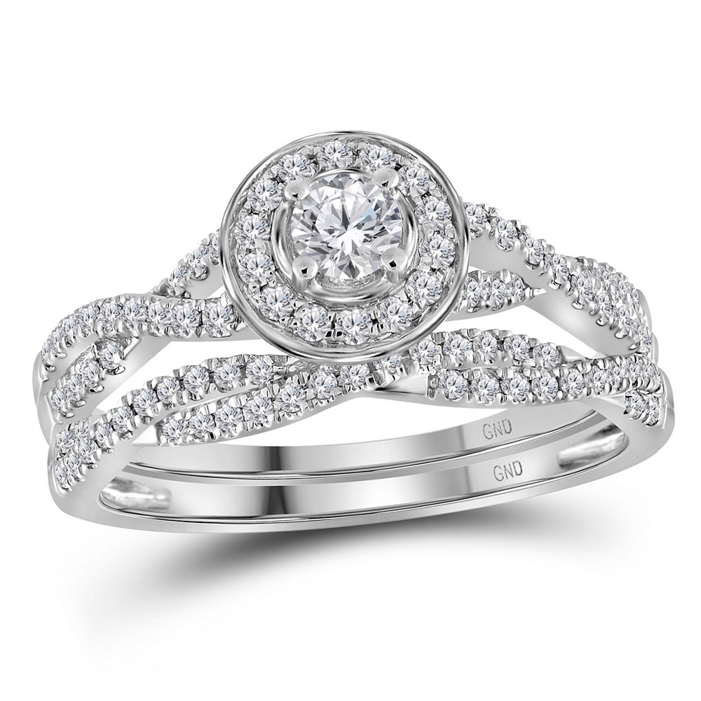 Lot 3083: Diamond Twist Bridal Wedding Engagement Ring 14kt White Gold