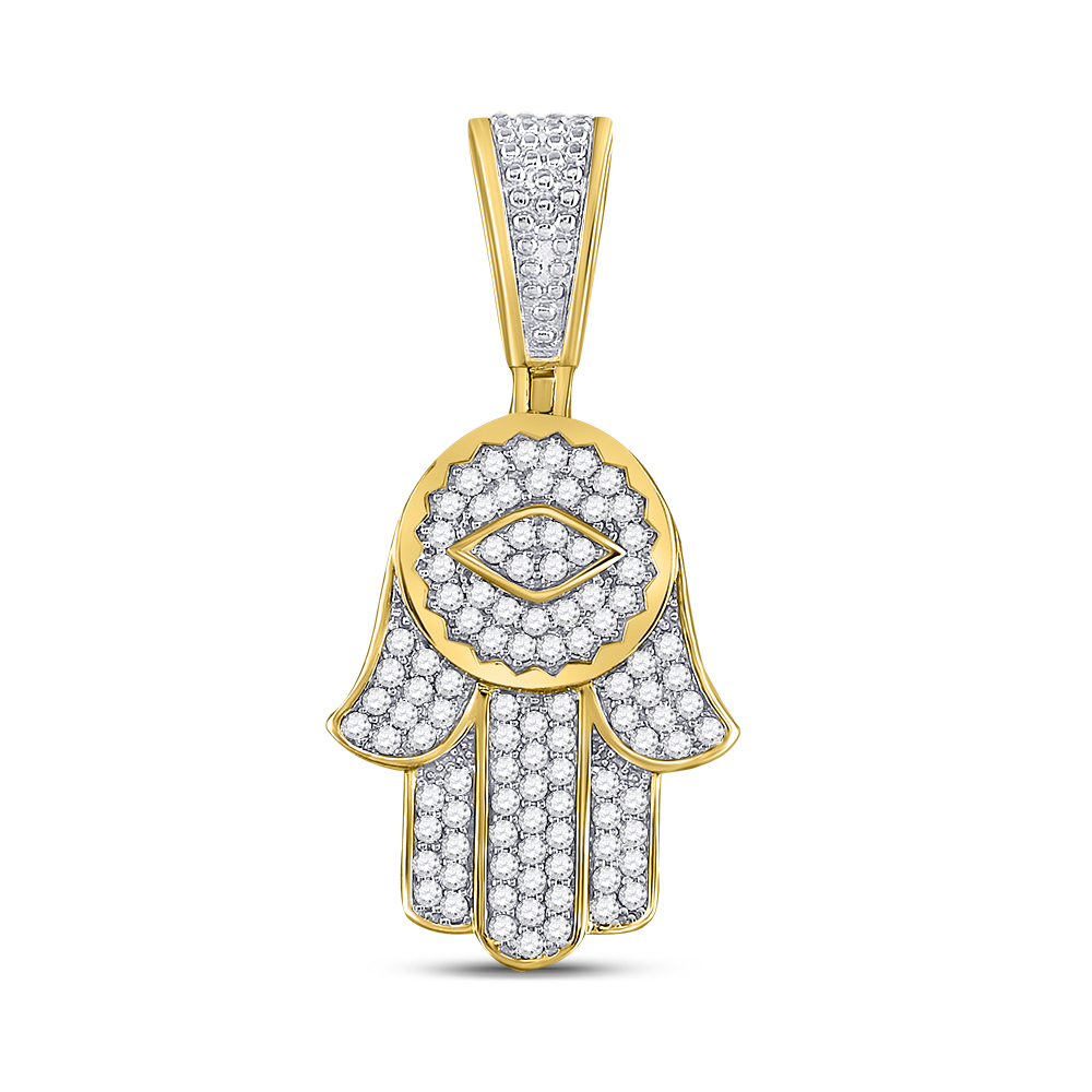 Mens Diamond Hamsa Charm Pendant 10kt Yellow Gold