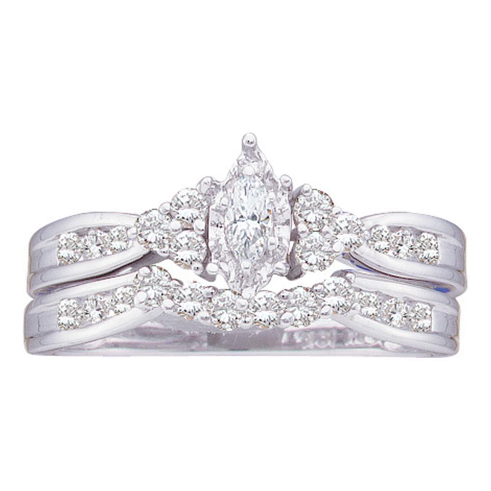 Marquise Diamond Bridal Wedding Engagement Ring 14kt White Gold