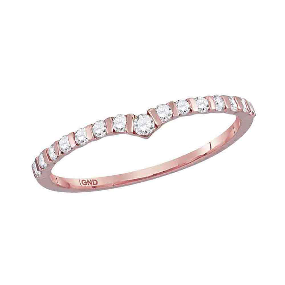 Lot 3087: Diamond Chevron Stackable Band 10kt Rose Gold