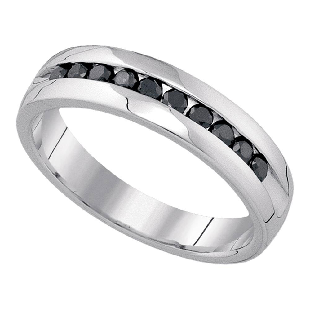 Lot 3088: Mens Black Color Enhanced Diamond Wedding Band 10kt White Gold
