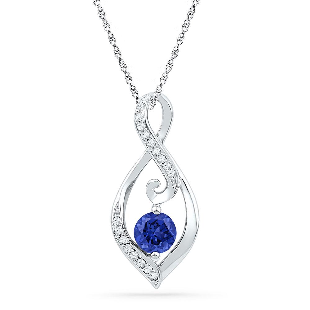 Lab-Created Blue Sapphire Solitaire Diamond Pendant 10kt White Gold