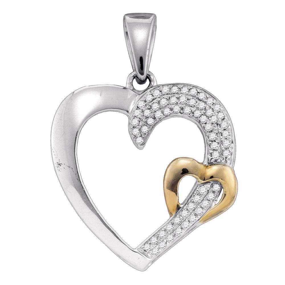 Diamond 2-tone Heart Pendant Sterling Silver