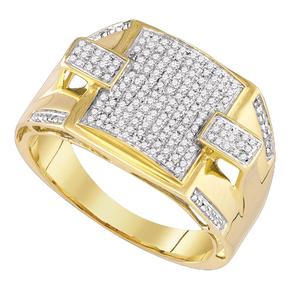 Mens Pave-Set 10kt Yellow Gold