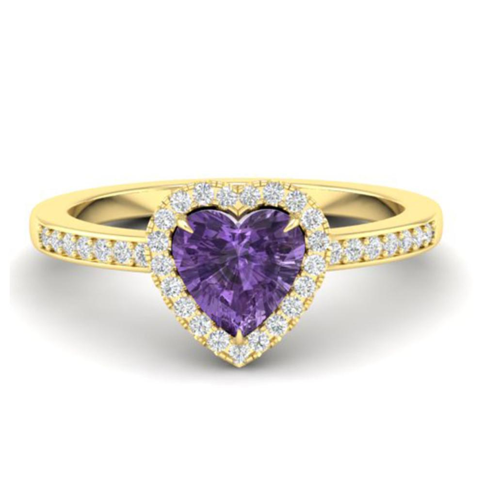 Lot 3102: 1 CTW Genuine Amethyst & Ring Heart Halo 14K Yellow Gold