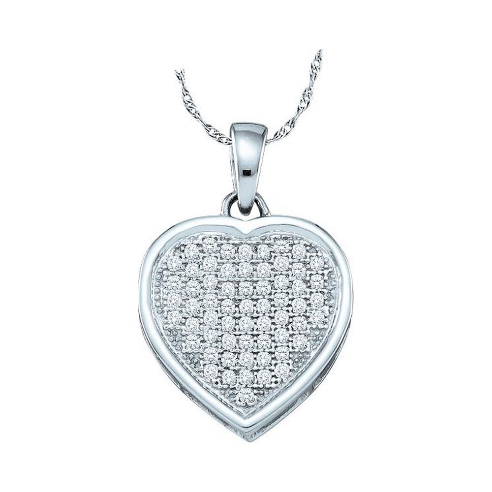 Diamond Small Simple Heart Pendant 10kt White Gold