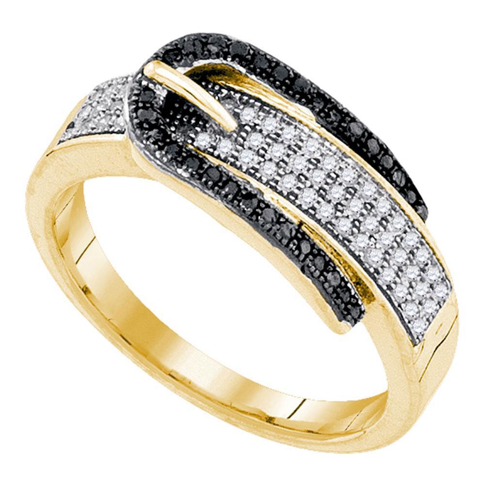 Black Color Enhanced Diamond Belt Buckle Band 10kt Yellow Gold