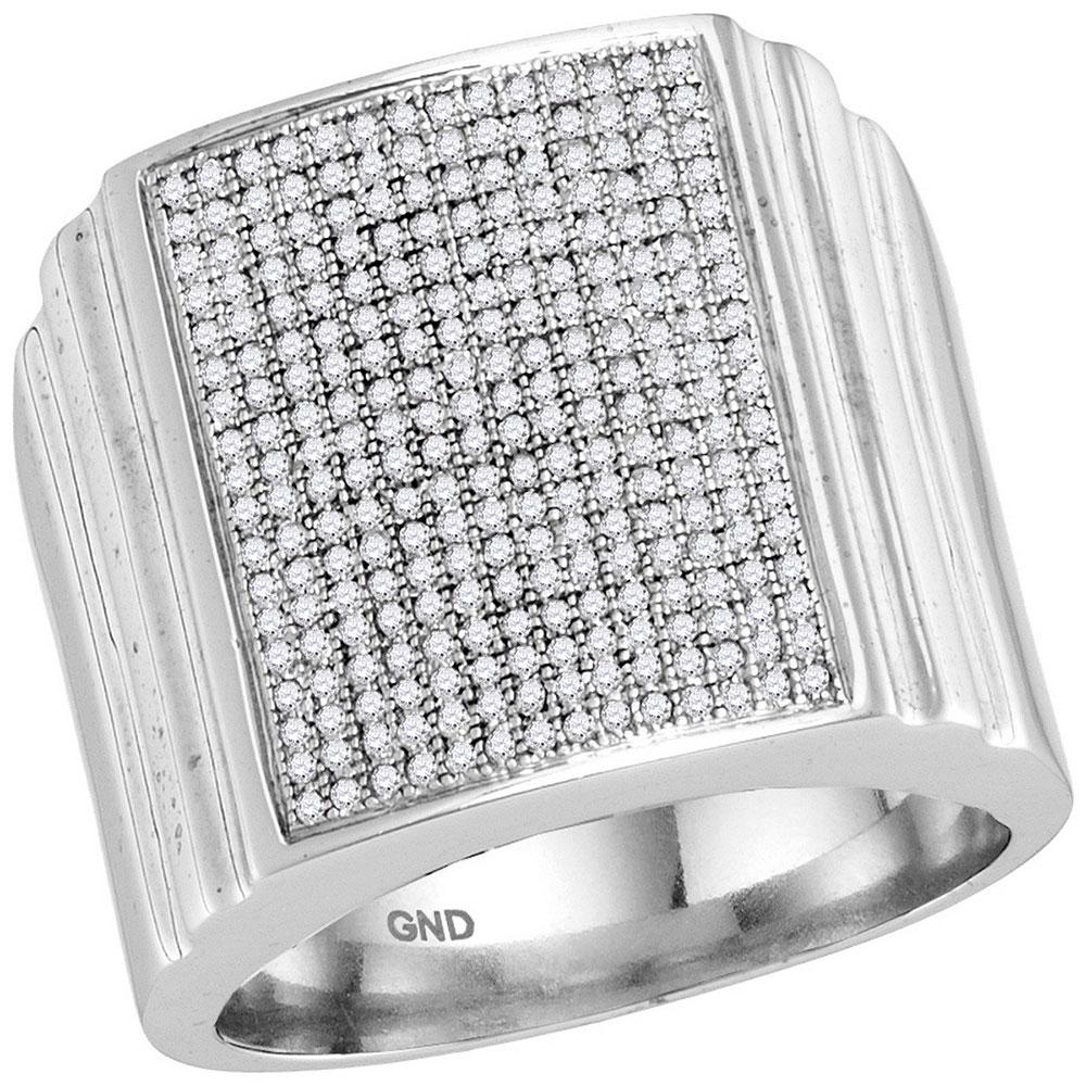 Diamond Square Cluster Ring 10kt White Gold