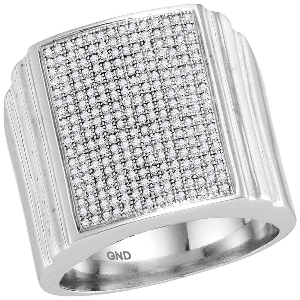 Lot 3109: Diamond Square Cluster Ring 10kt White Gold