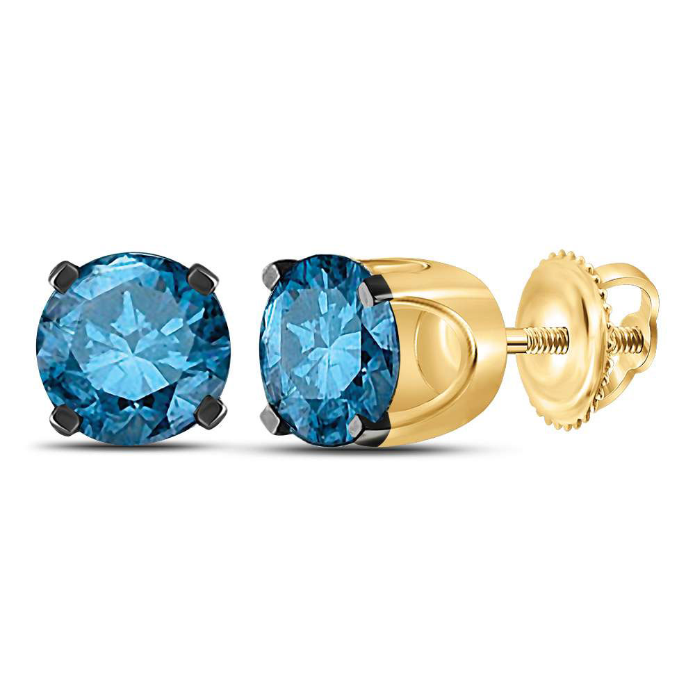 Lot 3112: Blue Color Enhanced Diamond Solitaire Stud Earrings 10kt Yellow Gold